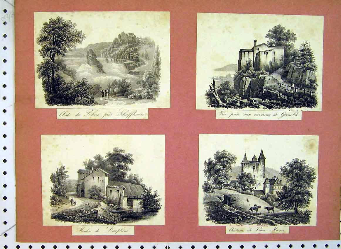 Print C1849 Buildings Grenoble Chateau Dauphine Country Scene 516B383 Old Original