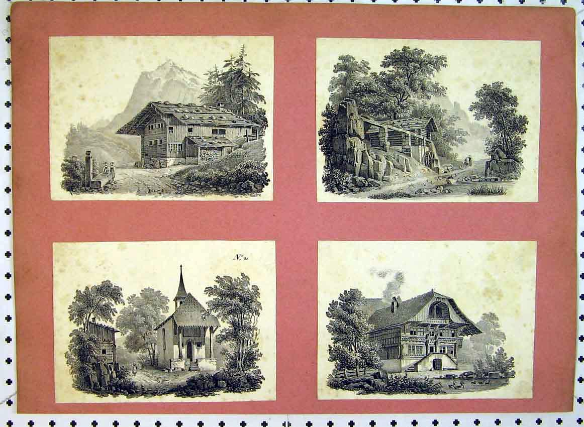 Print C1849 View Mountain Homes Country Church Trees 517B383 Old Original