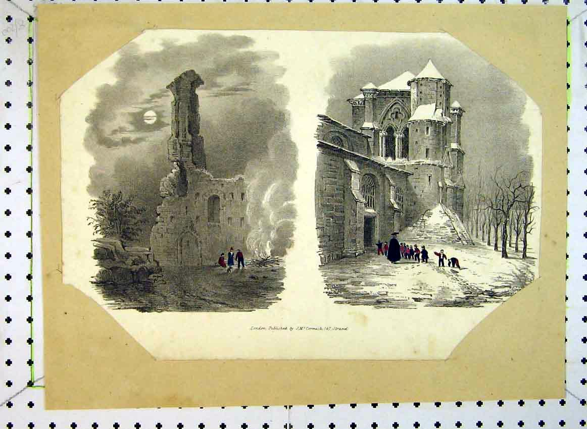 Print C1849 Moonlight Ruins Church Snow Mcormack 518B383 Old Original