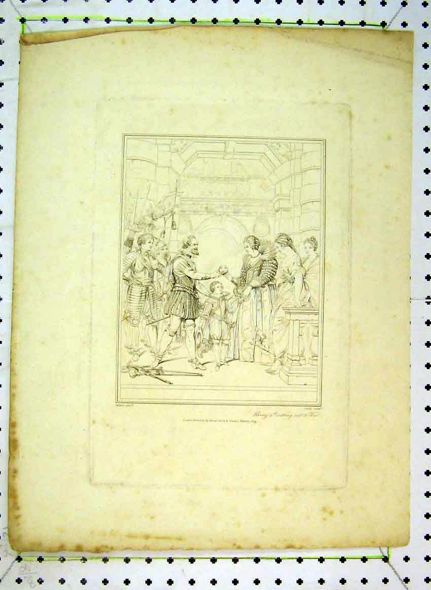 Print 1809 Drawing Henry 4Th Setting Out To War Rubens 522B383 Old Original