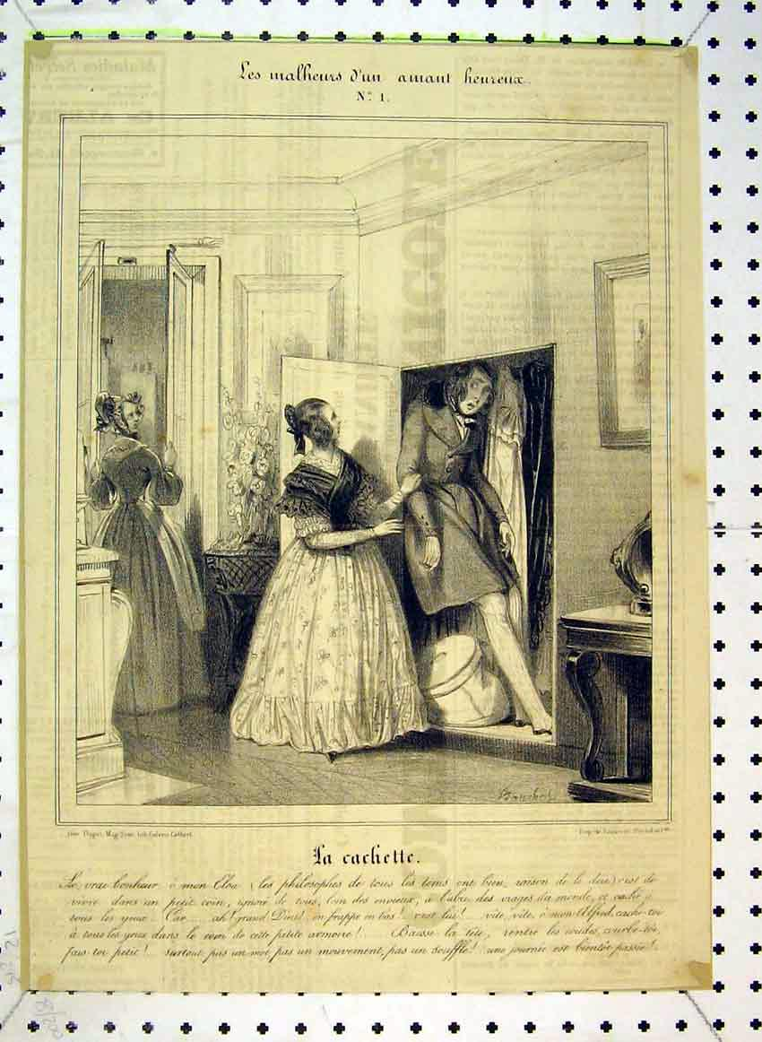 Print C1849 Comedy Scene Man Hiding Wardrobe 525B383 Old Original