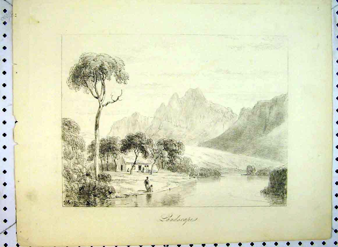 Print C1849 Landscape Drawing Mountain River House People 531B383 Old Original