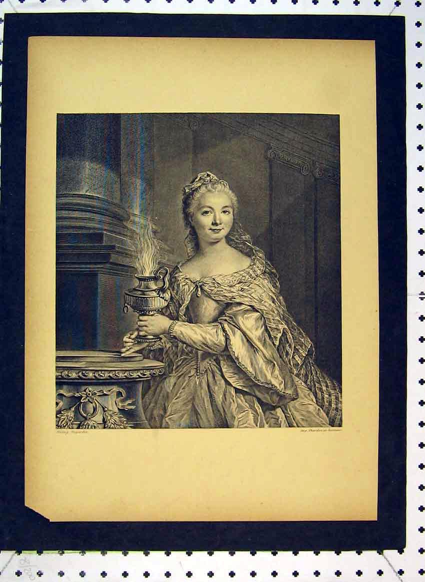 Print C1849 Portrait Beautiful Woman Lantern 536B383 Old Original