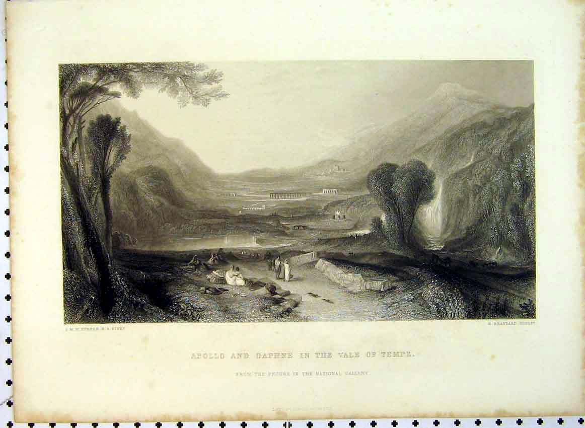 Print C1849 View Apollo Daphne Vale Tempe Mountain Scene 539B383 Old Original