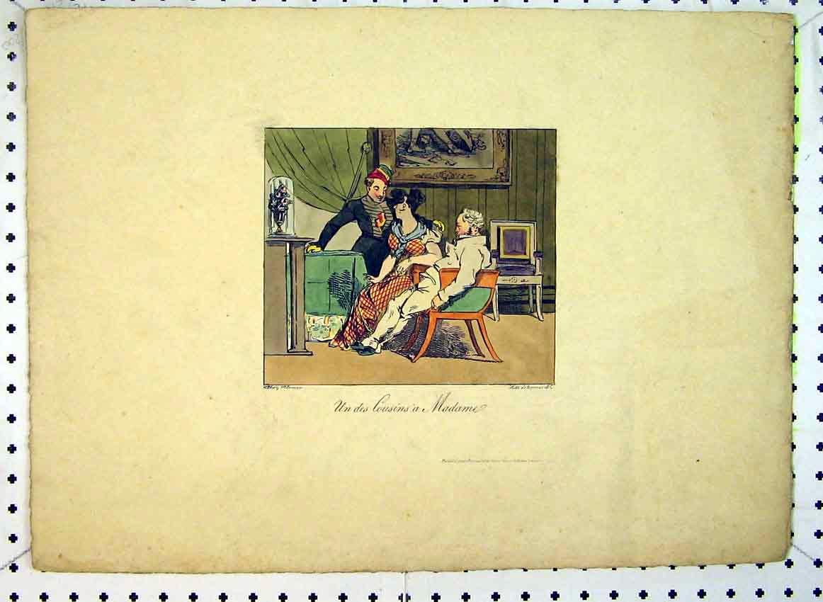 Print C1849 Colour Madame Men Interior House 548B383 Old Original