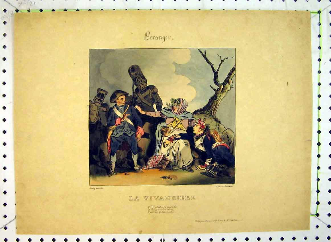 Print C1849 Colour War Scene Injured Soldiers 549B383 Old Original