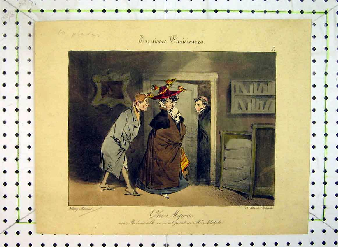Print C1849 Colour Man Opening Door Woman 551B383 Old Original