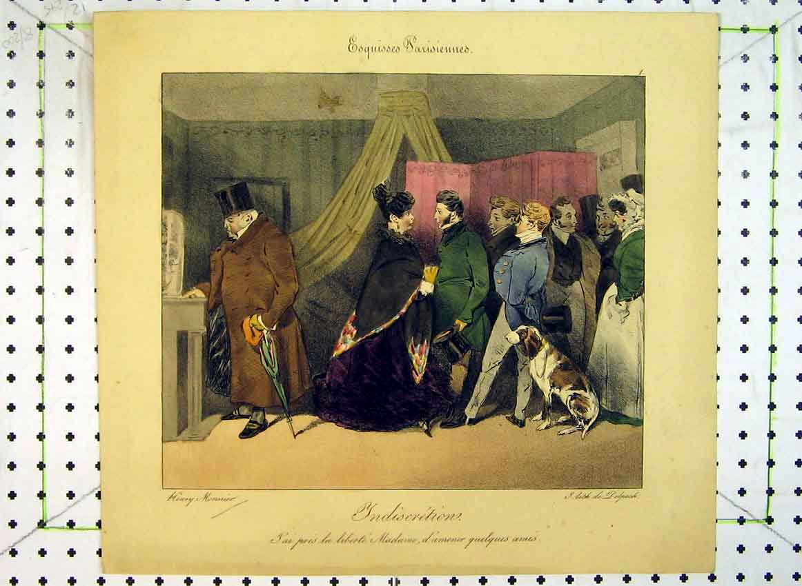 Print C1849 Colour Men Dog Woman Interior Home 553B383 Old Original