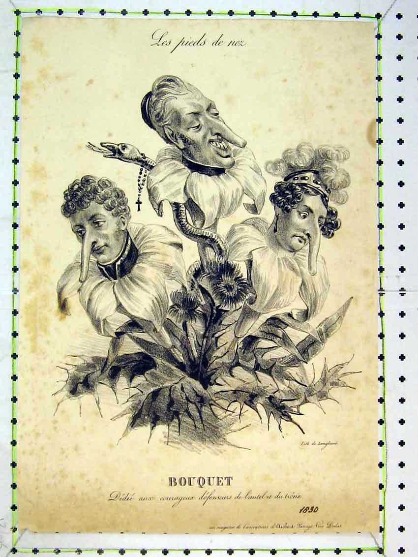 Print C1875 Drawing Flower Bouquet Fantasy Men Noses 310B384 Old Original