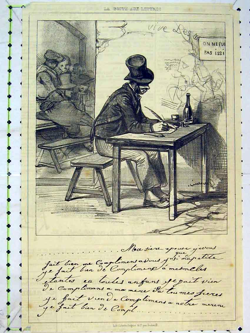 Print Drawing C1875 Man Writing Table Poetry 315B384 Old Original