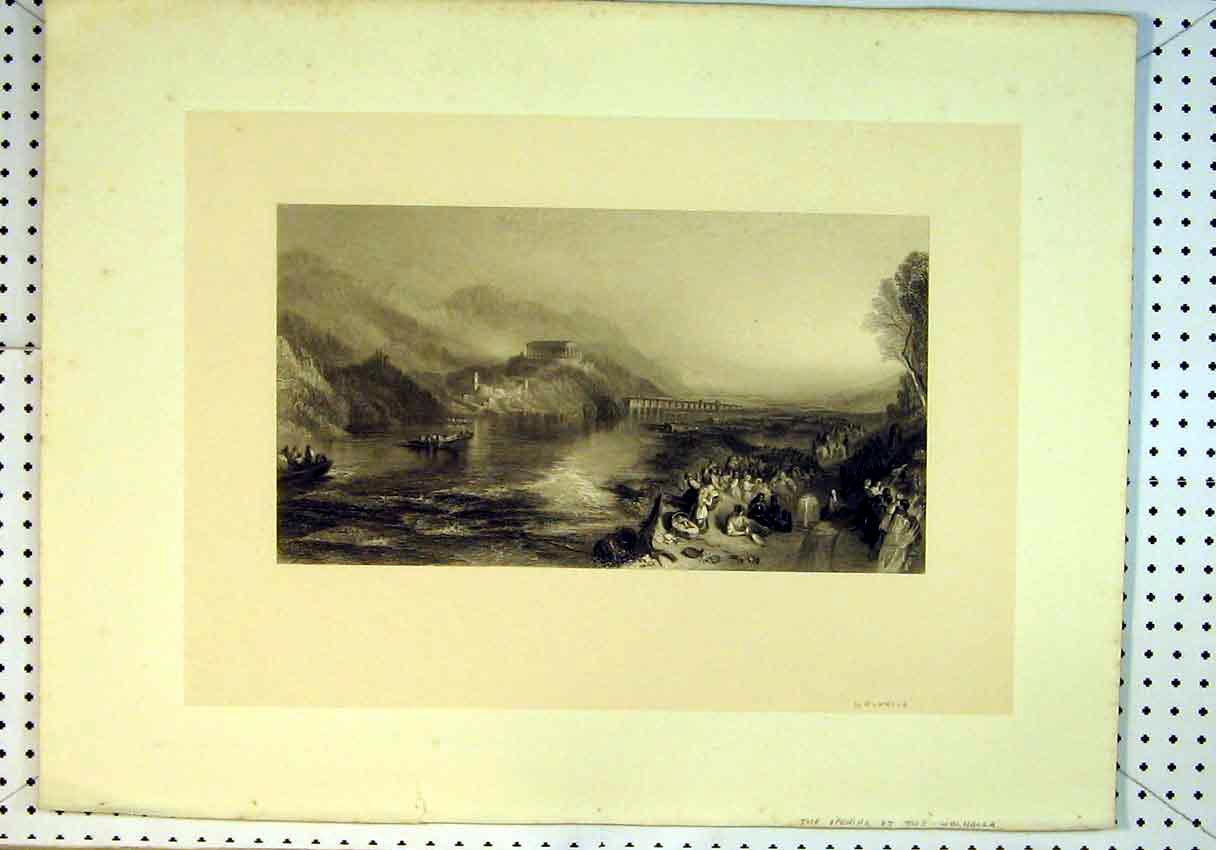 Print Scene Opening Walhalla Bridge Mountains People Boats 805B385 Old Original