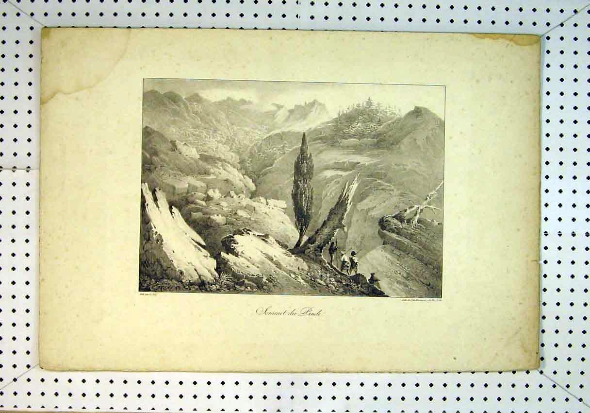 Print Mountain Scene Summit Pinde Men Trees Sketch Country 810B385 Old Original