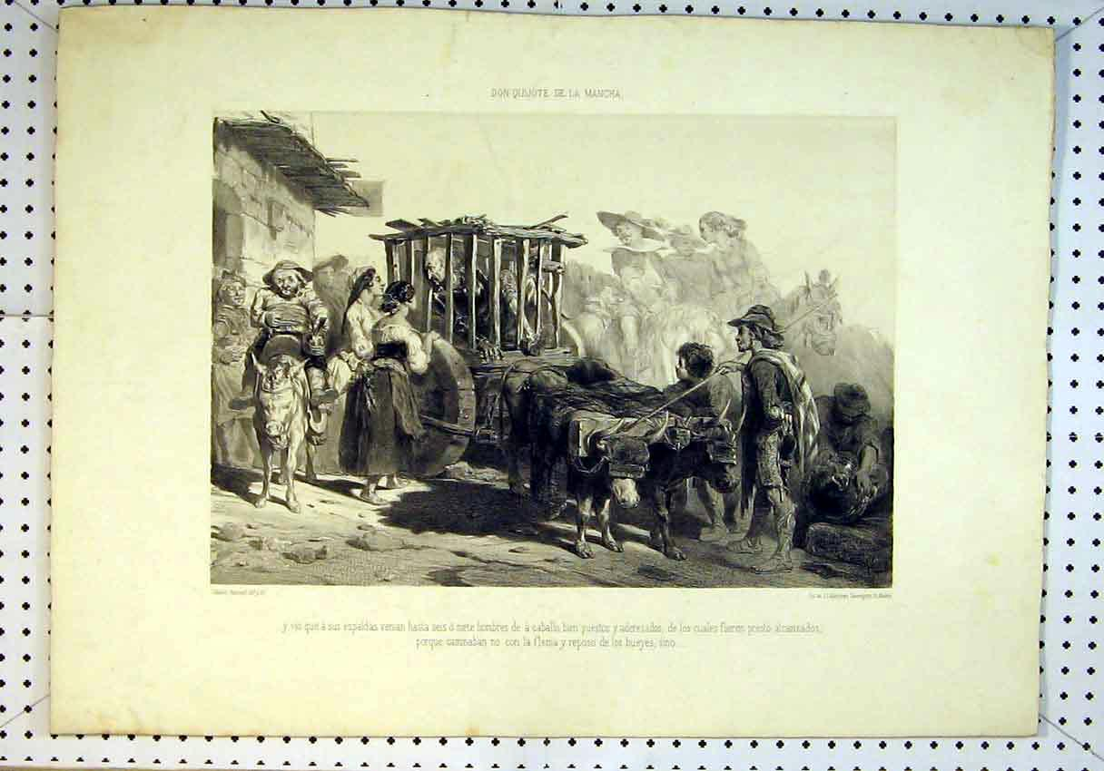 Print Cow Cart Man Cage Prisoner People Donkey Women Country 814B385 Old Original