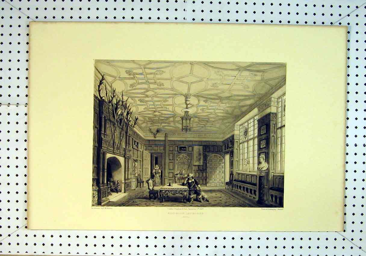 Print 1847 Interior View Ford House Devonshire Men Table 819B385 Old Original