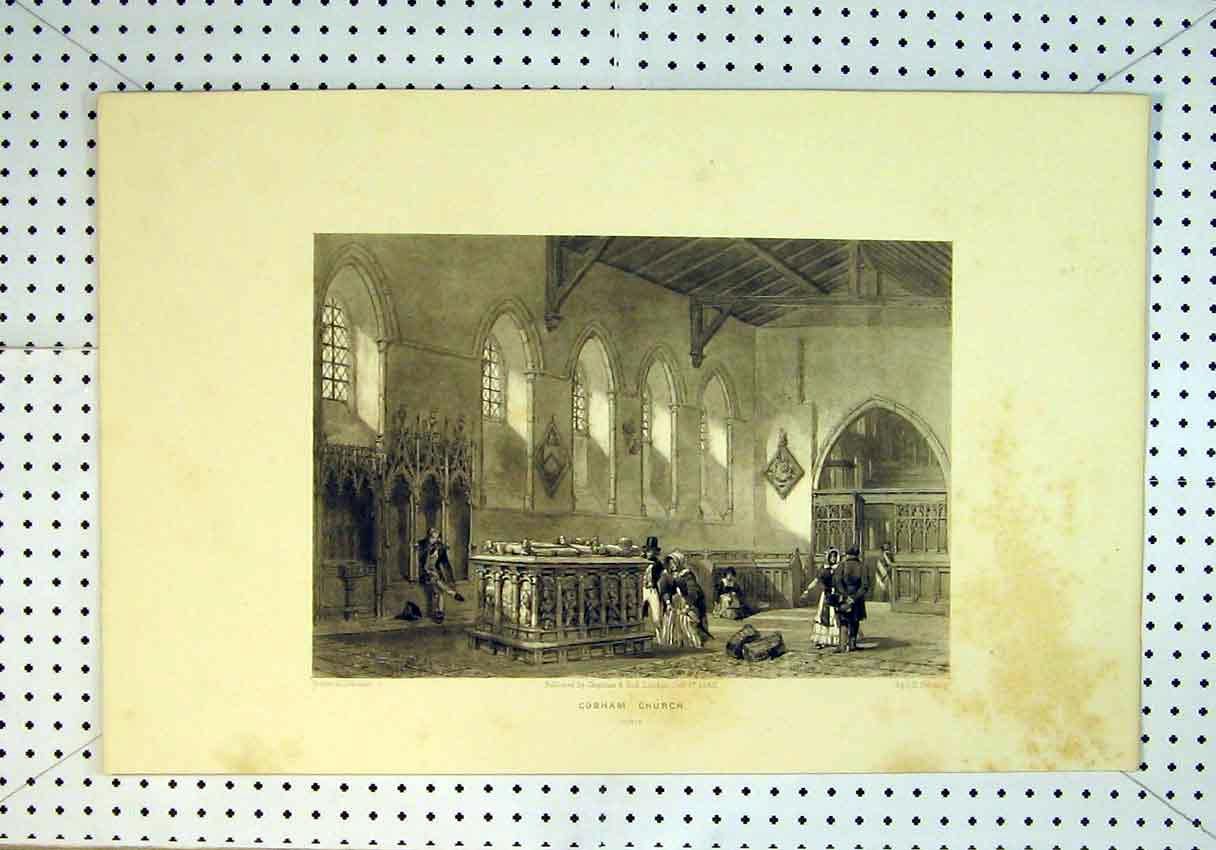 Print 1843 Interior View Cobham Church People Harding Proof 821B385 Old Original