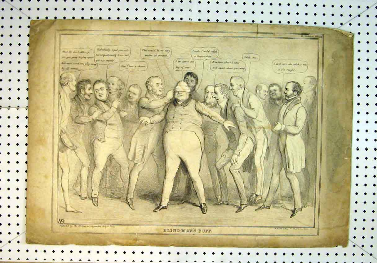 Print 1834 Drawing Men Playing Blind Mans Buff Games 826B385 Old Original
