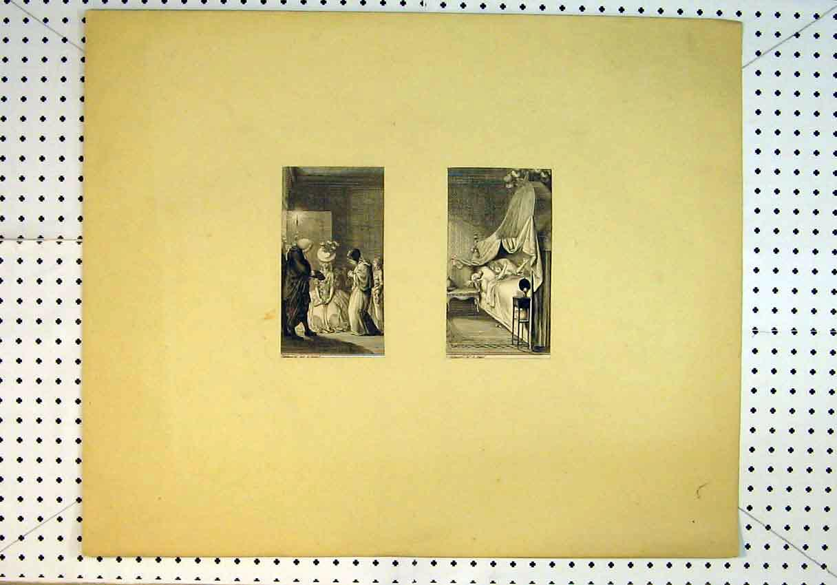 Print C1847 Ill Woman Bed Candle Light Prayers 829B385 Old Original