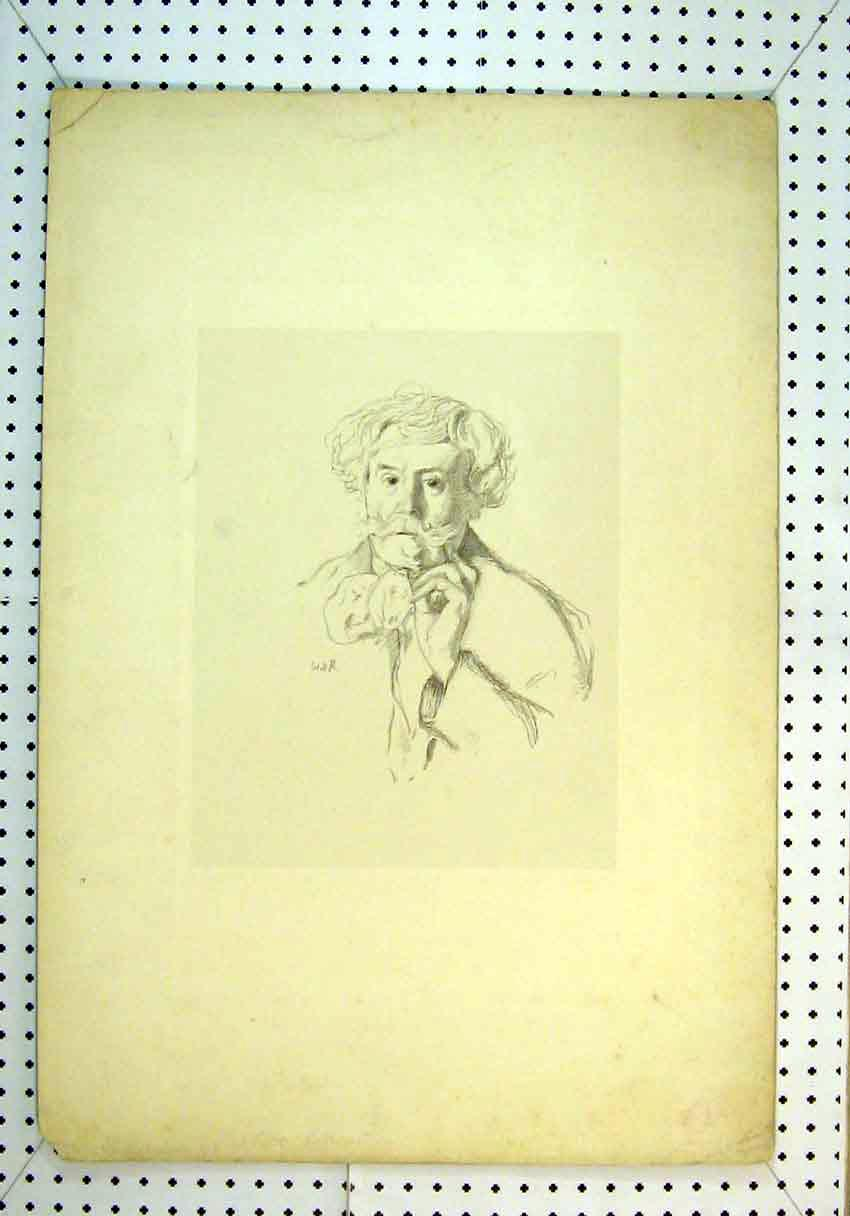 Print Portrait Sketch Thinking Man People 832B385 Old Original