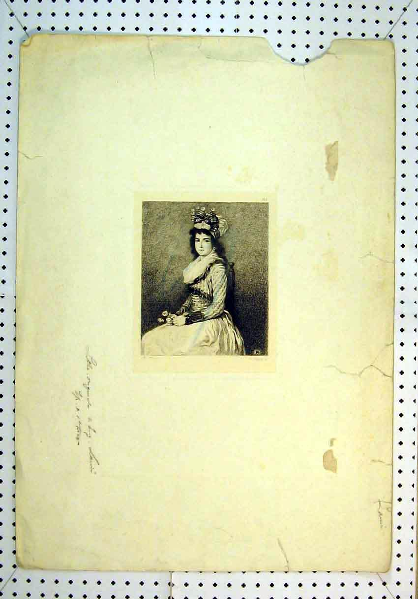 Print Portrait Beautiful Woman Sitting Chair 835B385 Old Original