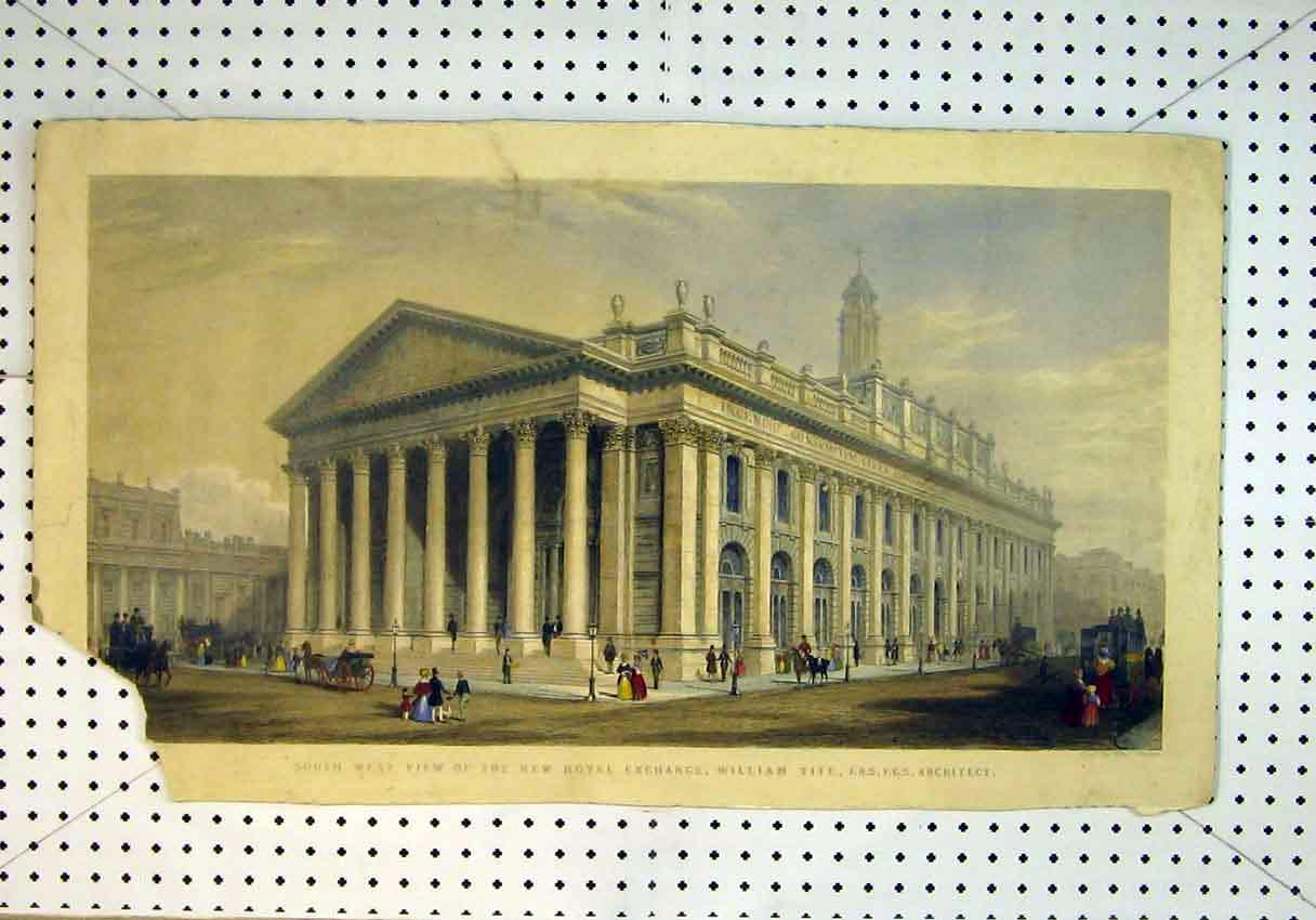 Print View Royal Exchange Building William Tite Architect 838B385 Old Original