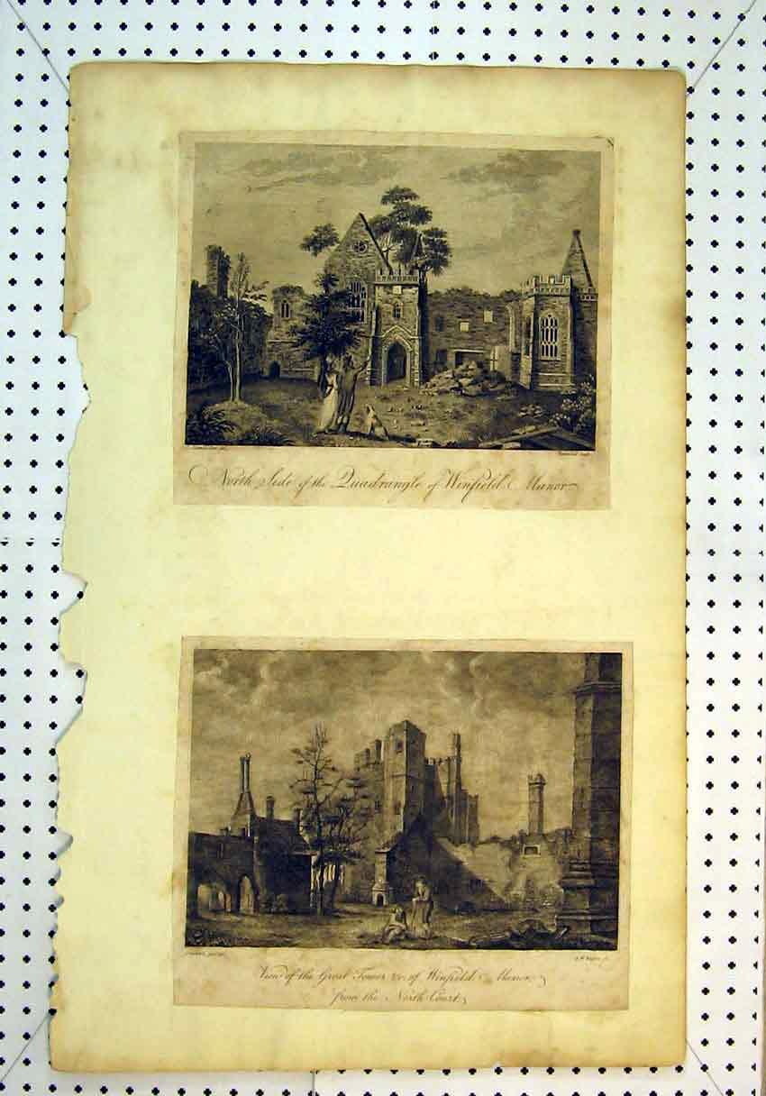 Print View Winfield Manor Great Tower North Court 840B385 Old Original