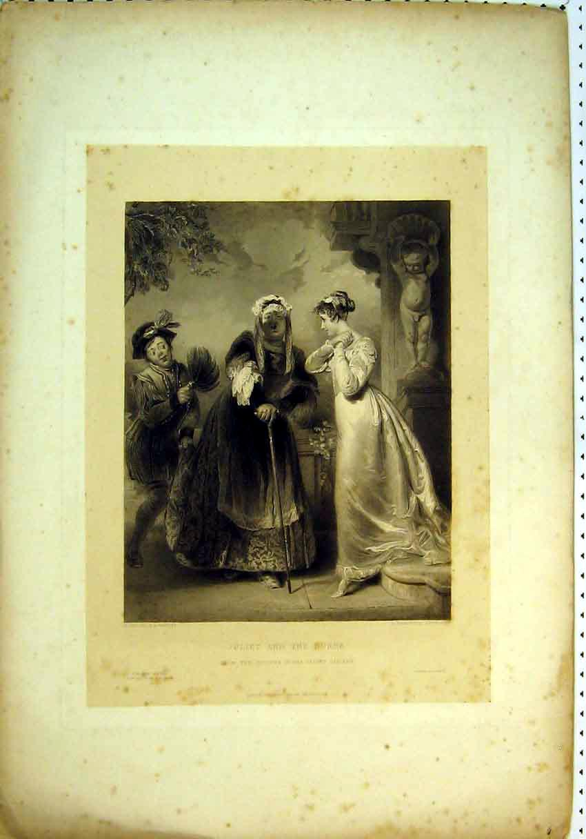 Print Scene Juliet Nurse Vernon Gallery Women Theatre 845B385 Old Original