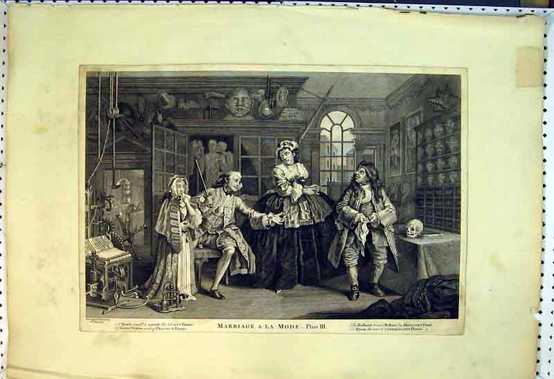Print Marriage A-La-Mode Doctor Medicine People Ill 848B385 Old Original