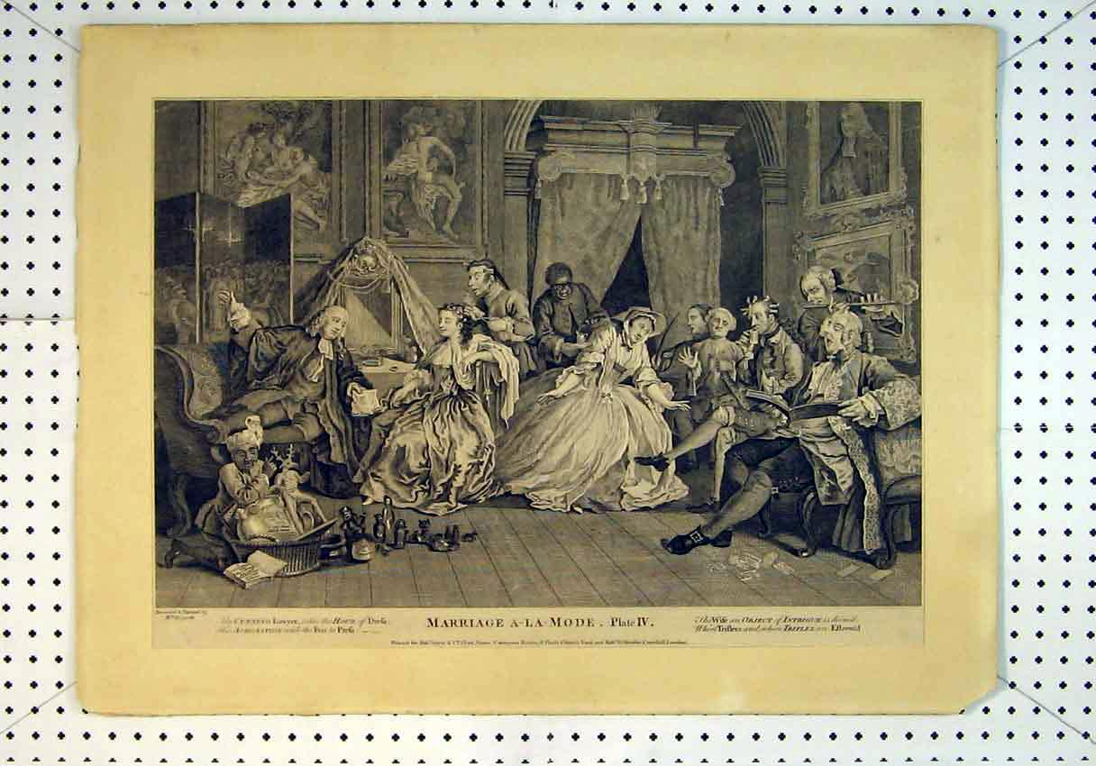 Print Scene Marriage A-La-Mode Theatre Scene C1847 People 849B385 Old Original