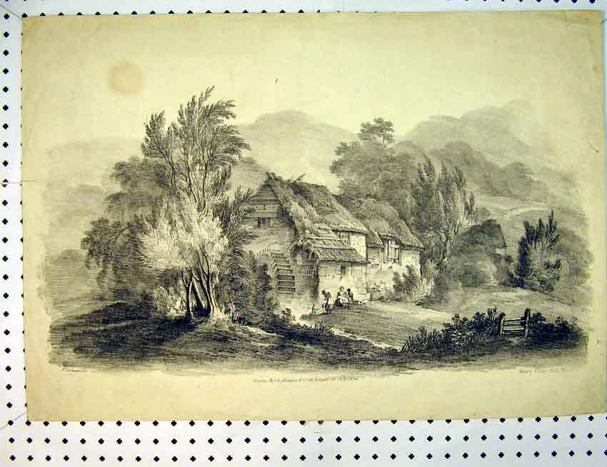 Print C1810 Country House Mill Mountain Scene 501B387 Old Original