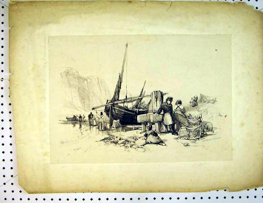Print Drawing C1810 Beach Ship Fishermen Cliffs 502B387 Old Original