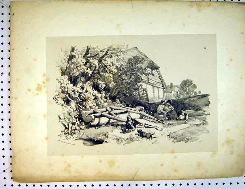 Print C1810 Drawing Family House Trees Dogs 506B387 Old Original