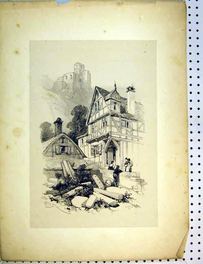 Print C1810 Drawing Village Hill-Top Castle Family 509B387 Old Original
