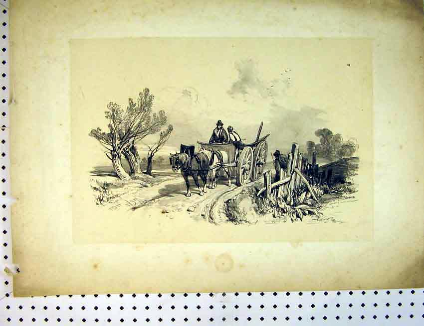 Print Drawing C1810 Country Scene Shire Horse Cart 510B387 Old Original