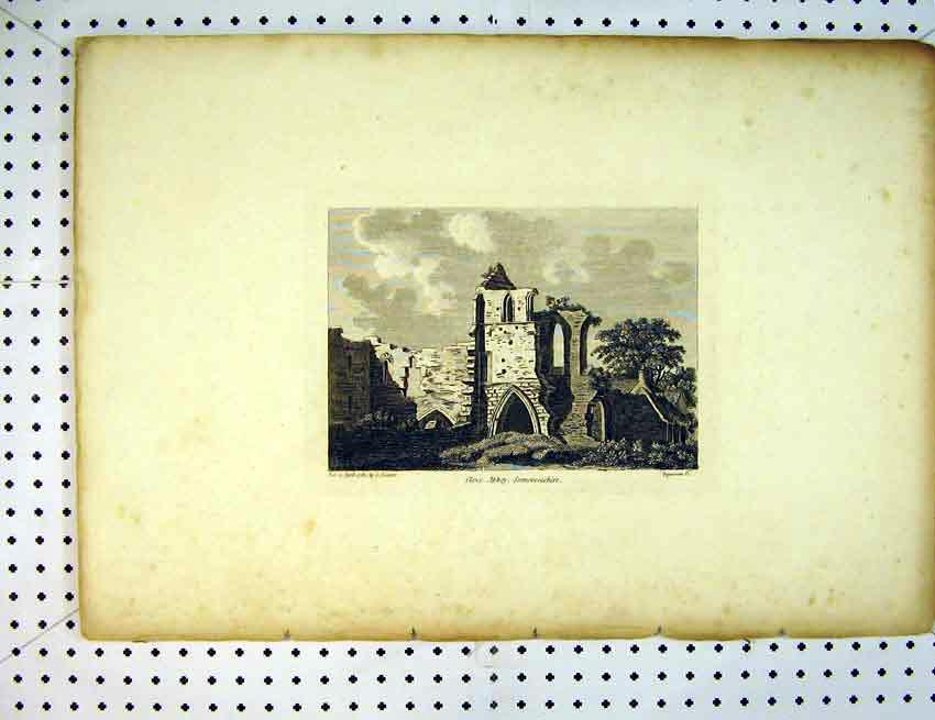 Print 1785 View Ruins Cleve Abbey Somersetshire England 531B387 Old Original