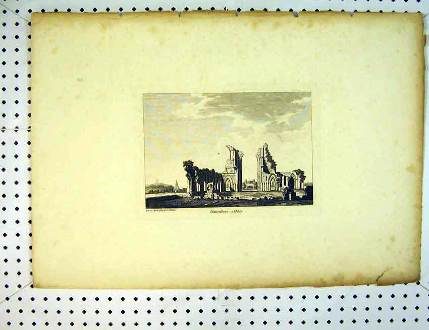 Print View Ruins Glastonbury Abbey England 1785 Hooper 534B387 Old Original