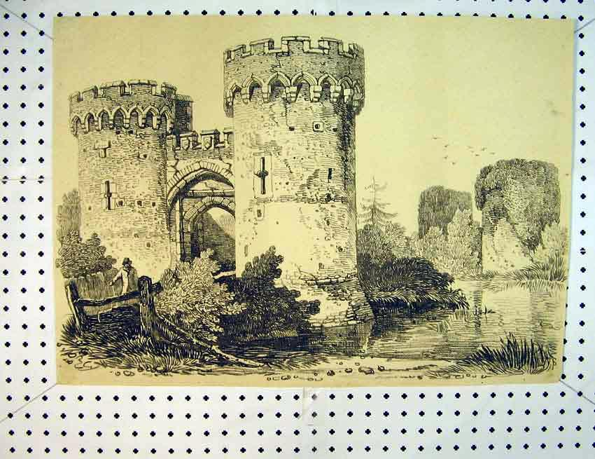 Print C1810 Drawing Castle Tower Windows Country Scene River 549B387 Old Original