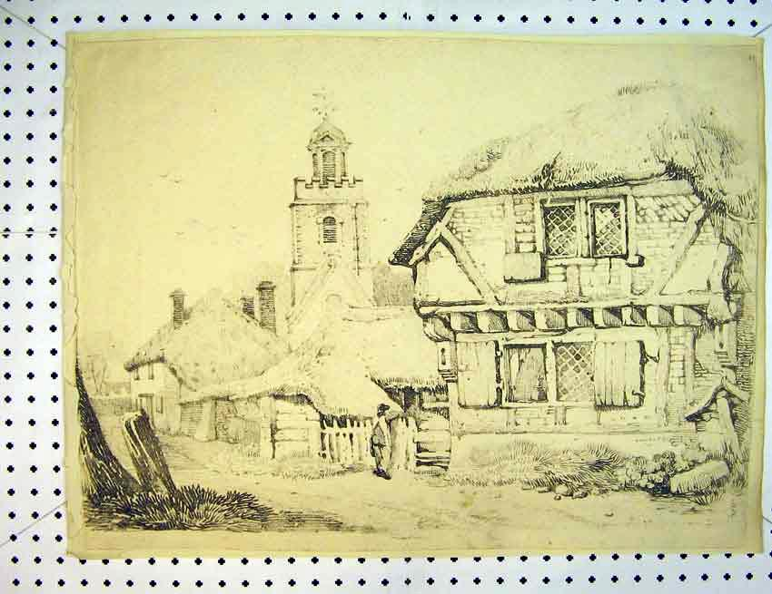 Print Drawing House Exterior C1810 Man Street Church Tower 550B387 Old Original