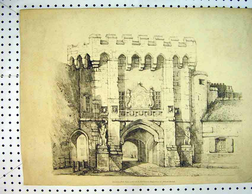 Print 1813 Drawing Castle Gate Tower Statue 551B387 Old Original