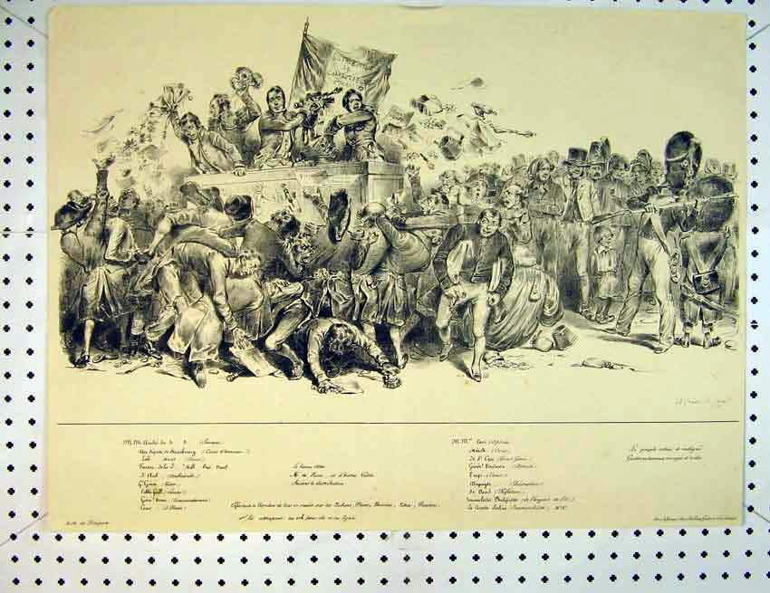 Print C1810 French Drawing Men Papers Soldiers Fight 560B387 Old Original