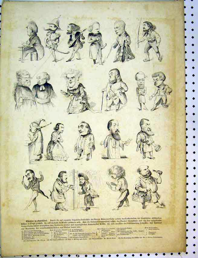 Print C1810 French Drawing Characters Men Heads 563B387 Old Original