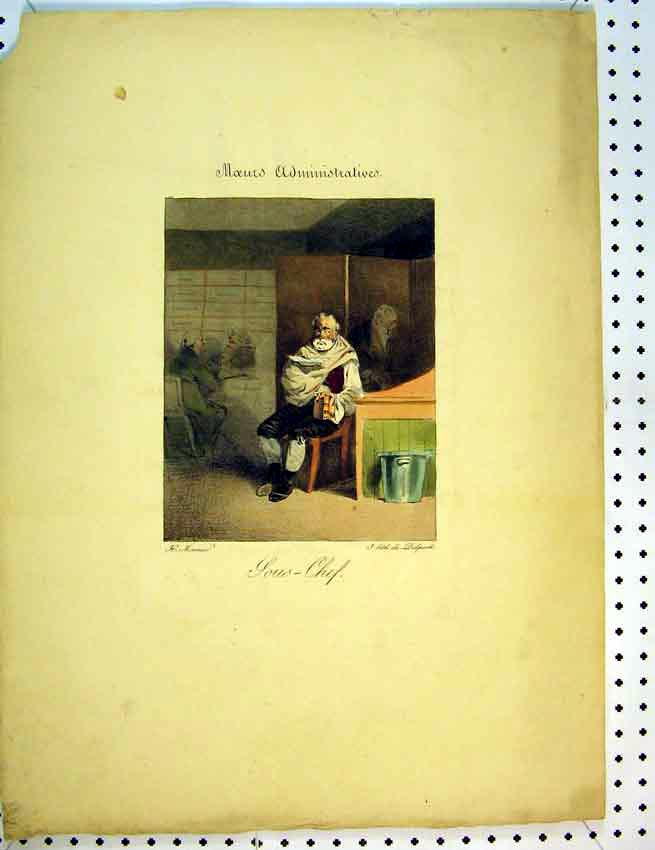 Print C1810 French Colour Man Sitting Book House 567B387 Old Original