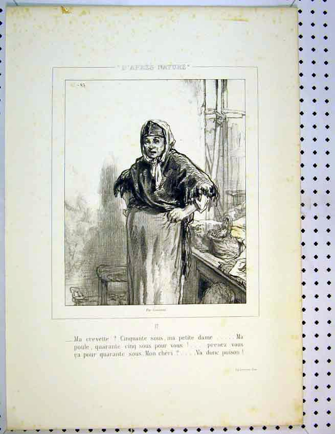 Print Drawing C1810 French Woman Working 576Ab387 Old Original