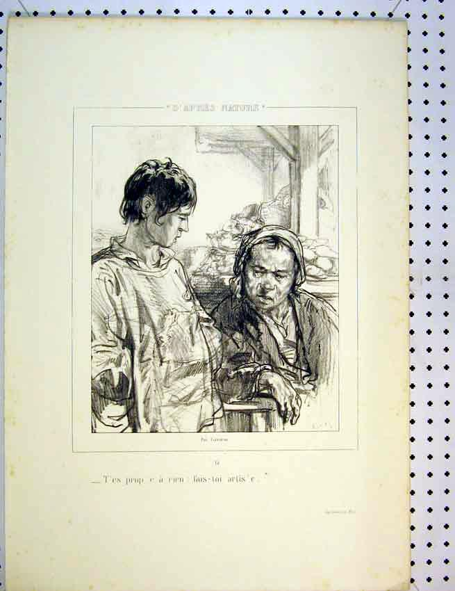 Print C1810 French Drawing Men Chatting Working 578B387 Old Original