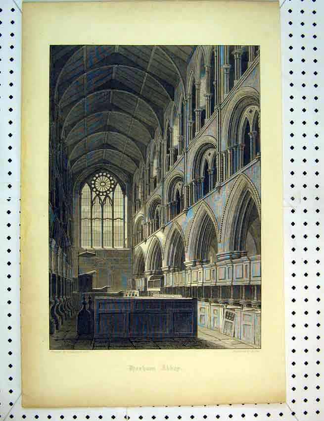Print C1810 Interior View Hexham Abbey Byrne 594B387 Old Original