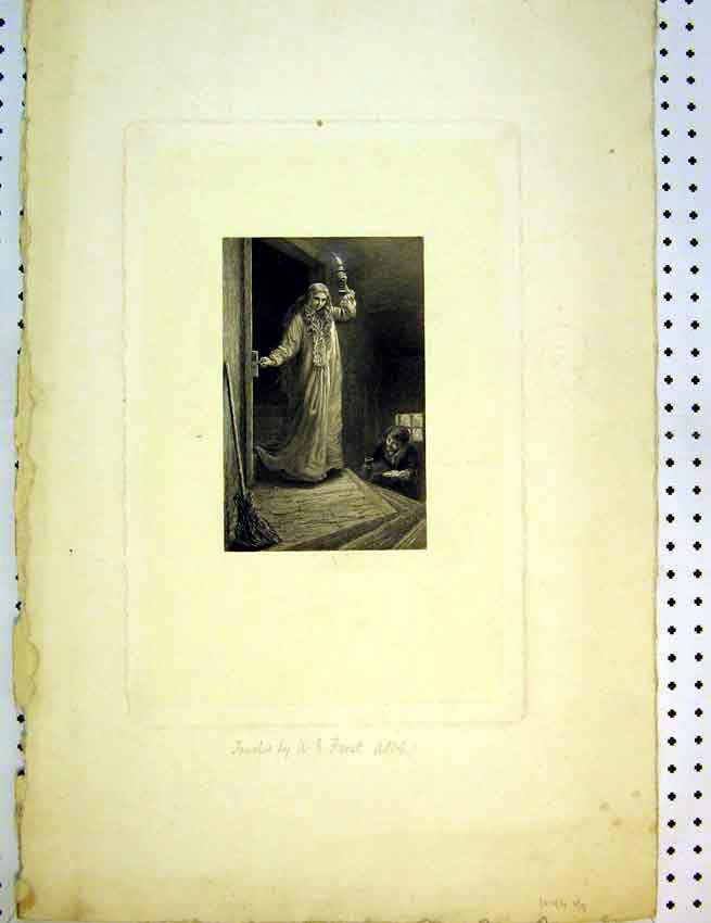 Print C1810 Drawing Interior House Woman Lamp Light 598B387 Old Original