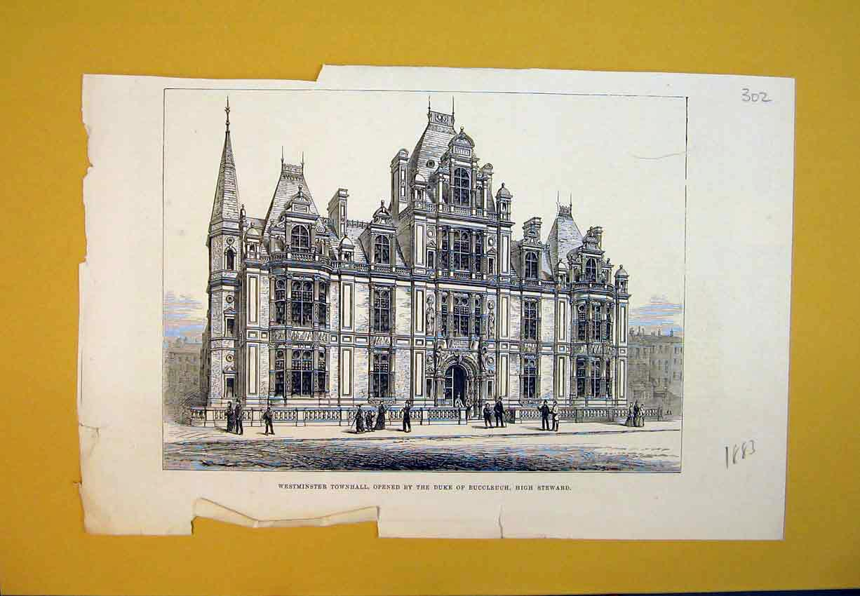 Print 1883 Westminster Town Hall London Building Architecture 302B388 Old Original