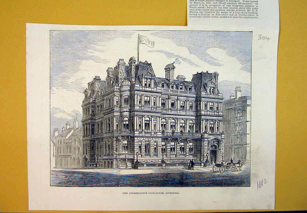 Print New Conservative Club-House Liverpool 1882 Buildings 304B388 Old Original