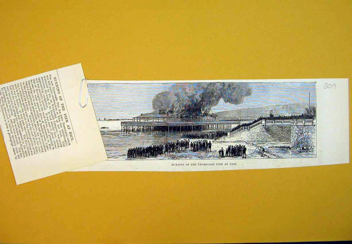 Print View Burning Promenade Pier Nice France Fire Busin 309B388 Old Original