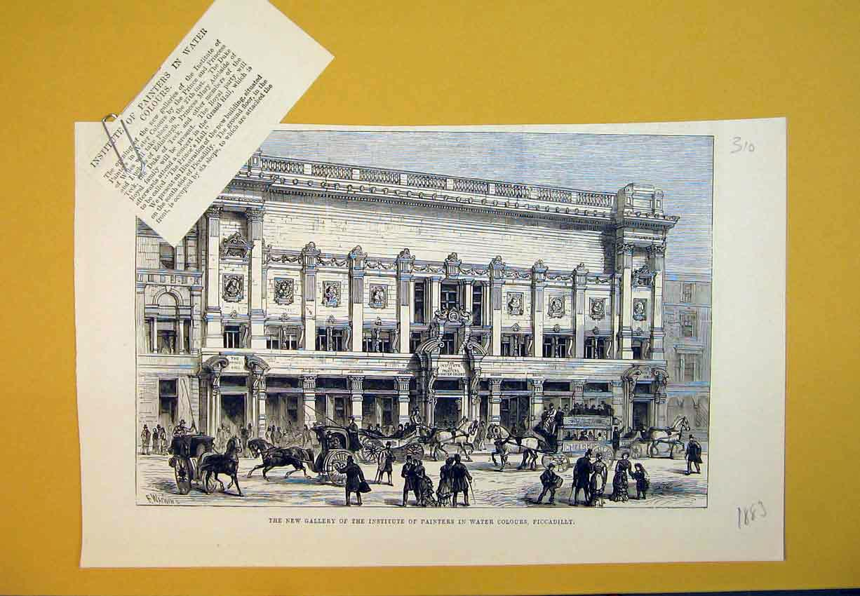 Print 1883 New Gallery Institute Painters Piccadilly Painting 310B388 Old Original