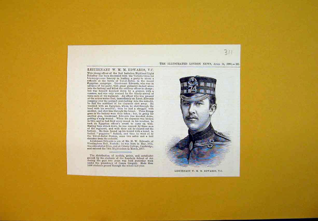 Print 1883 Portrait Lieutenant Edwards Highland Officer Army 311B388 Old Original